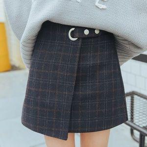 Woolen Gray-blue Plaid Wrap Skirt